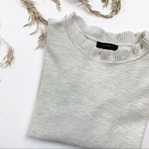 J.Crew Oatmeal Ruffles Neck Sweater Size Medium